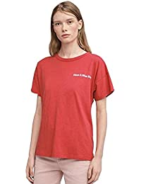 Rag & Bone Have a Nice Day Vintage Crew T-Shirt in Washed Red