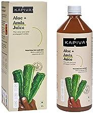 Kapiva 100% Organic Aloe Vera (USDA) + Amla Juice Boosts Immunity - No Added Sugar, 1 L