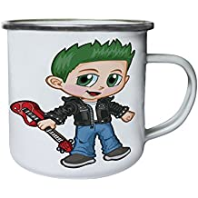 Boy Rock Star Electro Guitar Retro, lata, taza del esmalte 10oz/280ml z391e