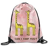 ewtretr Bolsos De Gimnasio, Cool Drawstring Backpack Cute Giraffe Art Design Print Drawstring Backpack Rucksack