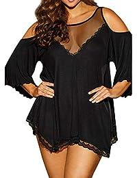 DressLksnf Lencería Talla Grande Moda Mujer Sujetador Braga Color Puro Transparente Picardias Pijama de Dormir Gasa