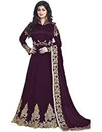 Vaidehi Fashion Latest Indian Beautiful Purple Colour Embroidered Work Long Anarkali Suit Semi-Stitched Suit (...