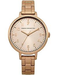 French Connection Reloj de cuarzo para mujer con oro rosa esfera analógica pantalla y pulsera de acero inoxidable oro rosa fc1248rgma