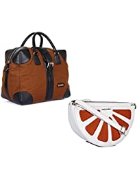 THE MAKER Combo Of Ikat And Tan Synthetic Leather Men Kilburn Duffle Bag With White And Orange Synthetic Leather...