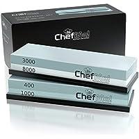 ChefMe! Piedra de Afilar (Set Grano 400/1000/3000/8000) | Piedra para Amolar Cuchillos con Soporte de Silicona Antideslizante e Instrucciones