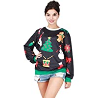 NiSeng Donna Uomo Felpe Sportive Ugly Natale Felpa Manica Lunga Caldo Sweater con Stampa Christmas Jumper