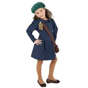 Smiffys World War II Evacuee Girl Costume, Blue, with Dress, Hat & Bag, Large