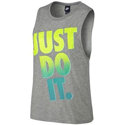 Nike Prep Tank Muscle Jdi Maglietta senza Maniche, Grigio/Lime/Turchese, L