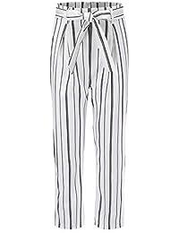 LXIANGP Pantalones de Mujer Moda Cintura Alta pantalón a Rayas versátil  algodón Nueve Pantalones pantalón Adelgazante cinturón… fde13db8eb8a