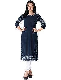 M&D Casual Printed 3/4 Sleeve Latest Cotton Kurti(Navy Blue)