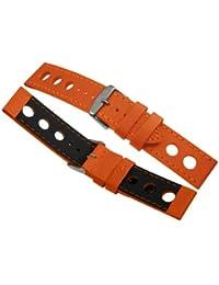 Davis B0323 - Bracelet Montre Racing Rallye Cuir Perforé Orange 22mm Haute Qualité