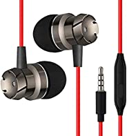 pTron HBE6 Headphone (High Bass Earphones) Metal in-Ear Wired Headset with Mic for All Smartphones (Red &