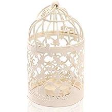 Leisial Portavelas decorativas de metal con forma de jaula, decoración para boda, hogar, mesa