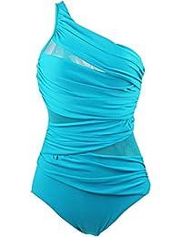 Surenow Traje de Baños de Una Pieza Bikini Bañador Deportivo para Mujer Niña Ropa de Baño para Playa Natación Azul L