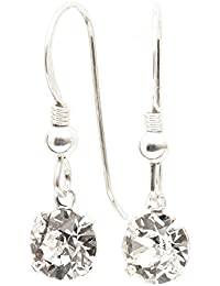 pewterhooter 925 Sterling Silver fishhook earrings expertly made with sparkling Diamond White crystal from SWAROVSKI® for Women