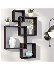 Amaze Shoppee Wooden Wall Mounted Shelf Rack for Living Room Decor (Black) - Set of 4