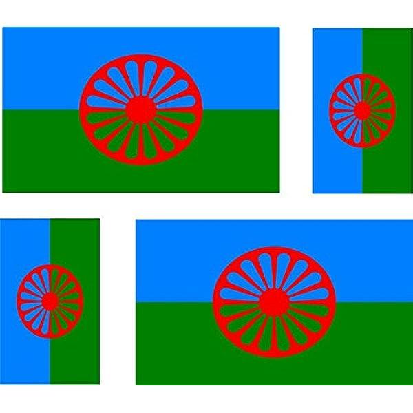 Akacha Aufkleber Für Auto Motorrad Koffer Pc Motiv Flagge Der Roma 4 Stück Auto