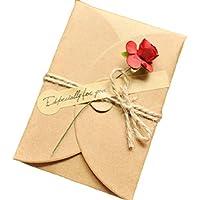 Monbedos - 5 tarjetas de felicitación hechas a mano con sobres de papel kraft y flores, el mejor regalo para el día de la madre o día de San Valentín, invitaciones de boda, papel, Rose-s, 4.13*2.8 inch(105*71 mm)