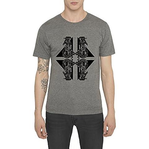 Camisetas de Algodón para Hombre, T Shirt Rock, Camiseta Negra, Gris con Estampada - WAR HORSE MAN Cool Fashion Tattoo Design, Cuello redondo, Manga corta, Ropa Moda Designer S M L XL XXL
