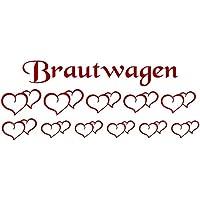 Autoaufkleber Hochzeit Brautwagen Herzen 11er Set