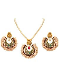 JFL - Fusion Ethnic Traditional One Gram Gold Plated Cz American Diamond Pink & Green Stone Designer Pendant Set...