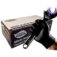 Guantes médicos desechables, resistentes, de nitrilo, de color negro, sin polvo, caja de 100