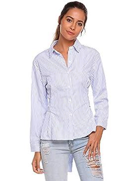 Meaneor Camisa Raya de Mujer Manga Larga con Banda de Cintura
