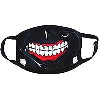 Toyonee máscara de Boca de algodón Antipolvo Negro, patrón de Estrella de Dientes, para niños Adolescentes Hombres Mujeres (f)