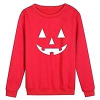 Sceoyche Halloween Party Women Casual Pumpkin Print Full Sleeve O-Neck Loose Top Blouse
