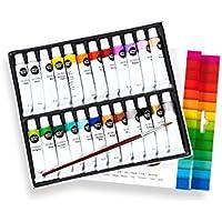 perfect ideaz Set de Pinturas acrílicas de Colores con Pincel, 24 Tubos x 12 ml, 22 Colores Diferentes, Alta proporción de pigmentos de Colores, Pintura acrílica de Alta Cobertura y de Secado rápido