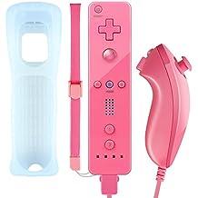 Wii-Controller, XW02 Nintendo Wii Fernbedienung und Nunchuk mit Silikonhülle Handschlaufeeingebauter Vibrationsmotor für Wii und Wii U Rosarot