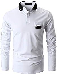 70c0e44fb830a GHYUGR Casual Polo de Mangas Largas para Hombre Algodón Slim Fit Camiseta  Camisas Deporte Golf Tennis