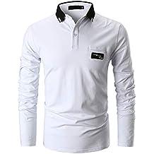 GHYUGR Casual Polo de Mangas Largas para Hombre Algodón Slim Fit Camiseta  Camisas Deporte Golf Tennis 1614b0ebbef37