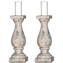 Set Von Zwei Antik Stil Schwergewicht Großen Stein Kerze Säulen U2013  Distressed Finish Shabby Chic Kerzenhalter Ideal Für Rustikal, Vintage Und  Traditionellen ...
