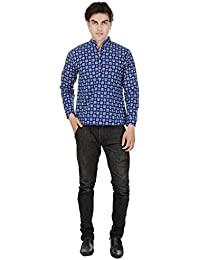 Beautiful Straight Printed Cotton Blue Men's Short Kurta from the house of Aprique Fab