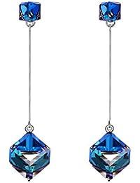 """SIVERY """"Amor infinito"""" Pendientes de azul hechas con cristales de Swarovski, pendientes mujer, joyas para mujer"""