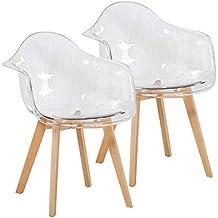 eggree lot de 2 moderne chaises de salle manger transparent fauteuil de salon scandinave avec - Fauteuil Scandinave Transparent