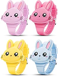 4 Piezas de Reloj Digital de Niñas, Reloj de Pulsera de Conejo Adorable, Reloj de Pulsera de LED para Regalo de Niñas Pequeñas