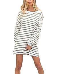 Mini Vestiti Donna Autunno Invernali Manica Lunga Rotondo Collo Stripe  Ragazza Moda Giovane Eleganti Vestito Casual b3d668160f8