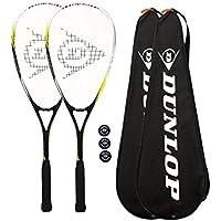 2x Dunlop Nano Max Ti Squash Racket + 3Squash Bälle