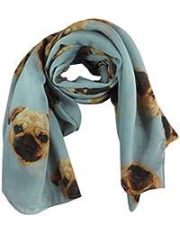 Light Blue Pugs Dog Print Wide Scarf