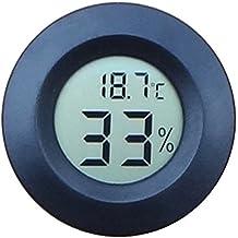 BEETEST Wireless Mini redondo pantalla forma grados centígrados incorporado termómetro higrómetro de incubadora para aves reptiles Negro