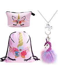 DRESHOW 4 Pack Unicorn Drawstring Backpack/Make Up Bag/Necklace Alloy Chain/Fluffy Key Chain Pendant Key Ring for Girls