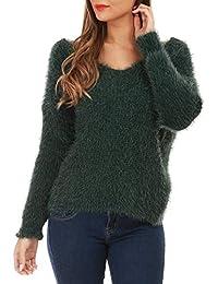 ca68e26f6bc Amazon.fr   pull angora - Vert   Femme   Vêtements