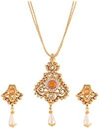 Ganapathy Gems Traditional Orange Gold Plated Multi-Strand Necklace Set For Women & Girls(10282_GPJ)