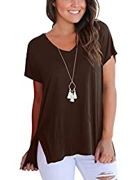 dafc76c4aed1c Dasbayla Women s Solid Loose Short Sleeve V Neck T-Shirt Top Side Split  High Low