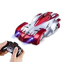 AMERTEER Remote Control Car,Electric Toy RC Cars on the Wall, Dual Mode 360°Rotating Stunt Rechargeable High Speed Race Vehicle with LED Lights, Xmas RC Cars for Boys Girls 3-16 Year Old (red)
