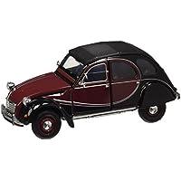 Welly 24009 burgundy/black - Modellino da collezione Citroen 2 CV 6 Charleston, in scala 1:24, in metallo, colore: Rosso scuro/Nero