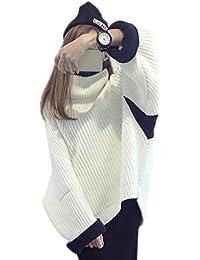 Bigood Ropa Mujer de Invierno Suelto Mangas Largas Cuello Alto