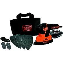 Black+Decker KA2000 - Lijadora de detalles con 6 accesorios, 120 W, 230 V, color negro y naranja